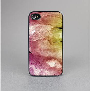 The Pink-Yellow-Blue Grunge Painted Surface Skin-Sert for the Apple iPhone 4-4s Skin-Sert Case