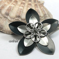 Scale Flower Hair Clip, Handmade Black and Brushed Aluminum Flower Hairpiece, Hair Flower Clip