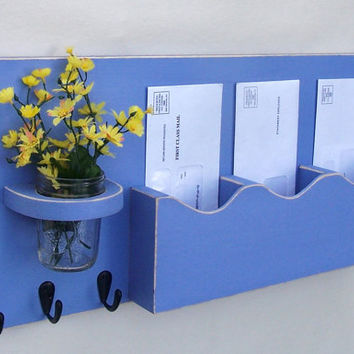 Mail Organizer - Mail Holder - Key Hooks - Key Rack - Jar Vase - Organizer - Painted Distressed Wood