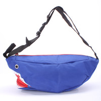 Royal Blue Adjustable Click Buckle Inner Zipper Printed Shark Mouth With Zipper Fanny Pack