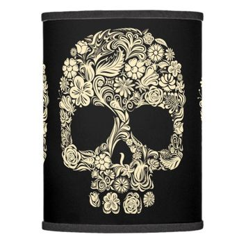Floral Sugar Skull Lamp Shade