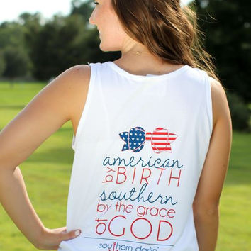 Southern Darlin Comfort Color American by Birth Southern by the Grace of God Bright Girlie T-Shirt Tank Top