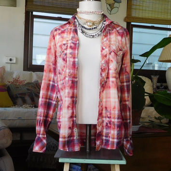 Cowgirl Shirt Bleached Out Hippie Boho Blouse Bohemian Clothes Grunge Hippie Top Pearl Buttons Snap Plaid Western Men Small Womens Medium/lg
