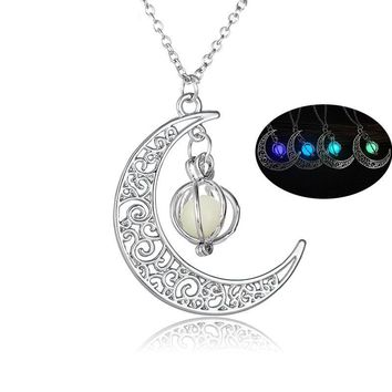 Moon Shine Charm Luminous Stone Necklace