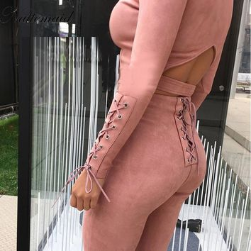 Fashion style suede Jumpsuit womens Rompers Beige color long pants Bodycon Sexy fitted jumpsuits 2 pieces set tracksuit