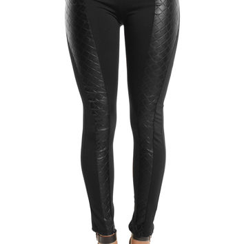 Cross Quilted Panel Zip Leggings