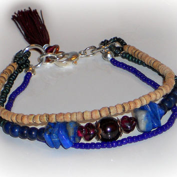 Multi Strand Boho Bracelet, Garnet, Lapis, Wood Heishi, Matte Green, Navy Seed Bead, Triple Strand Bracelet, Wood Bracelet, ELEMENTS Collect