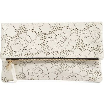 Clare V. Leather Lace Foldover Clutch | Nordstrom