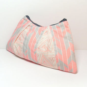 Makeup Bag - Coral Gray - Cosmetic Bag - Zipper Pouch - Toiletry Bag - Quilted Bag