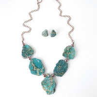 Chunky Genuine Green Turquoise Statement Necklace and Earrings Set, Turquoise Jewelry