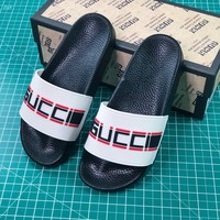 Gucci Stripe Rubber Slide Sandal White Black - Best Online Sale