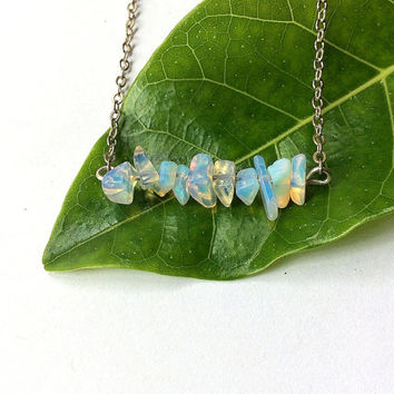 Opalite bar necklace, glass chip beads