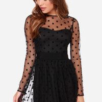 LULUS Exclusive Twirl Me About It Black Polka Dot Dress