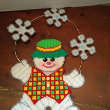 handmade plastic canvas christmas holiday winter cute snowman wall door hanging decor