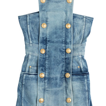 Balmain - Denim Mini-Dress with Gold-Tone Buttons