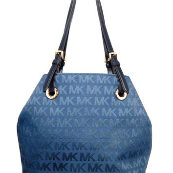 MICHAEL KORS MK Blue Jacquard Fabric Jet Set Shoulder Tote Grab Bag 38S1YTTT4J