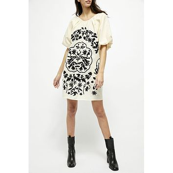 Fiona Embroidered Mini Ivory Dress Combo