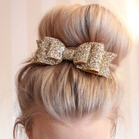 1 Pcs 2016 New Fashion Women Hair Clips Lady Girls Sequin Big Bowknot Barrette Hairpin Hair Bow Accessories