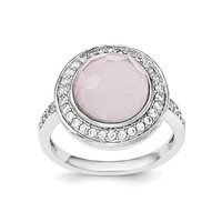Sterling Silver Pink Faceted Round Stone and CZ Halo Ring