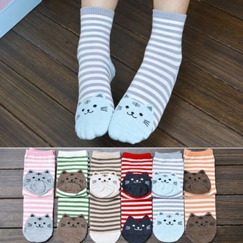 Free - Superb! 6 Colors 3D Animals Striped Cartoon Socks Women Cat Footprints Cotton Socks