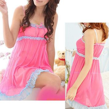 1 pc Beauty 2 Colors  Women's Sexy intimates Bow Lingerie Dress  Spliced Backless Dress Sleepwear G-string New