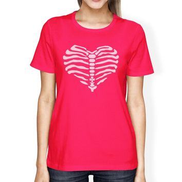 Skeleton Heart Womens Hot Pink Shirt