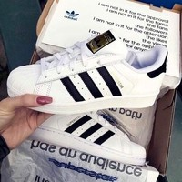 """Adidas"" Classic of Any Age Fashion White Shell-toe Flats Sneakers Sport Shoes"