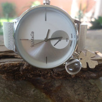 WRISTWATCH, ROCK CRYSTAL & clover Clock with luck