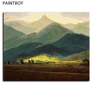 Oil Painting Frameless Picture Painting By Numbers Mountain Landscape DIY Digital Canvas Oil Painting Wall Art G409