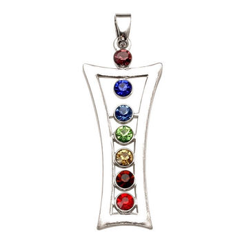 1pc ~7 Crystal Bead Reiki Healing Angel Goddess Yoga Chakra Pendant