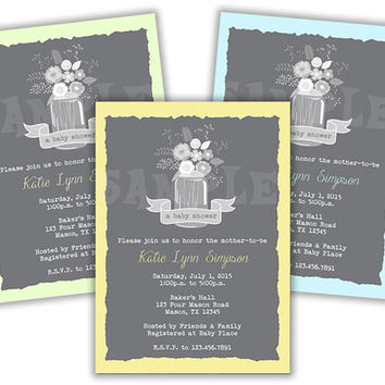 Country Boys Baby Shower Invitations - Mason Jar Baby Shower Invitation - Boy Baby Shower - Twins - Mint Green - Yellow - Pastel Blue