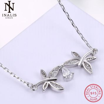 INALIS 925 Sterling Silver Necklace Double Dragonfly Crystal Pendant Necklace For Women Girl Female Jewelry Wedding Gift