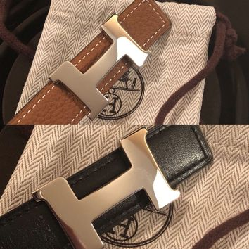 HERMES CONSTANCE BELT KIT PALLADIUM H BUCKLE WITH 24MM REVERSIBLE LEATHER STRAP