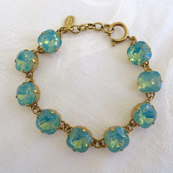 Catherine Popesco Crystal Bracelet, Pacific Opal Stones, Faceted Swarovski Crystals, Aquamarine Blue, Made in France