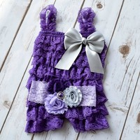 Purple lace romper with silver satin bow and matching three shabby chic lace headband for baby girls and toddlers -Your Final Touch Hair Accessories