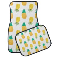 Tropical Hawaiian Watercolor Pineapple Patterned Car Floor Mat