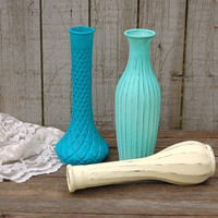 Shabby Chic Vases, Mint Green, Turquoise, Ivory, Beach Decor, Painted, Distressed, Glass, Wedding Decor, Set of 3