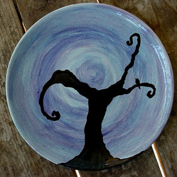 Twilight tree dinner plate choose your desired colors kiln fired pottery