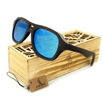 Vintage Pilot 100% Natural Bamboo Wood Polarized Sunglasses