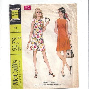 McCall's 9179 Pattern for Misses' Summer Dress, Size 14, From 1968, Quick Sew, Vintage Pattern, Home Sew Pattern, 1968 Fashion Sewing