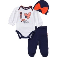 Denver Broncos Bodysuit, Footed Pants & Cap Set - Baby Girl, Size: