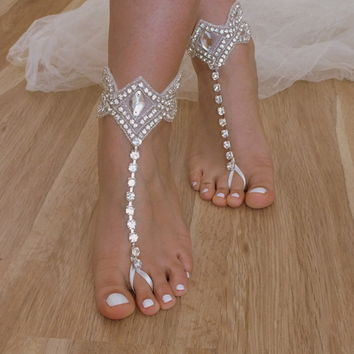 Rhinestone barefoot sandals Beach wedding sandals