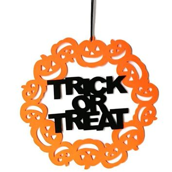 Halloween Pumpkin Circle Hanging Ornaments Door Decor and Wall Signs Party Home Decoration Halloween Holiday Supplies