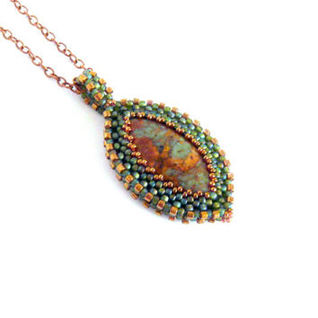 Beaded pendant with green opal, original pendant, beadwork pendant, green bronze colored two sided