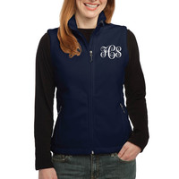 Ladies Embroidered Monogram Vest - Navy