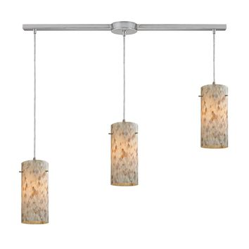 10442/3L Capri 3 Light Pendant In Satin Nickel And Capiz Shell - Free Shipping!