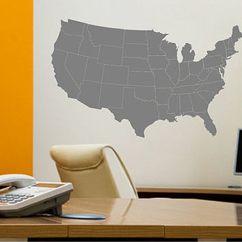 kik2250 Wall Decal Sticker USA Map states living room bedroom office