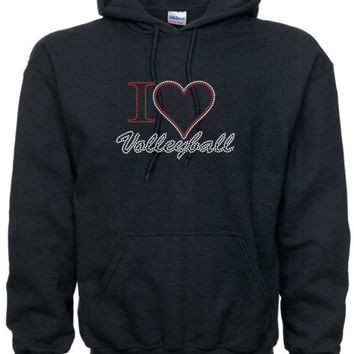 Rhinestone I Heart Love Volleyball Hoodie Sweatshirt Many Colors