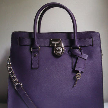 NWT Michael Kors Hamilton Saffiano Leather Large NS Tote Purse Bag in Purple