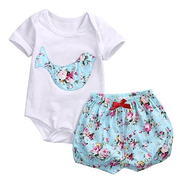 Newborn Baby Boy Girl Clothes Floral Infant Bebes Cotton Romper Bodysuit  +Bloomers Bottom 2pcs Outfit 85b157c0cead